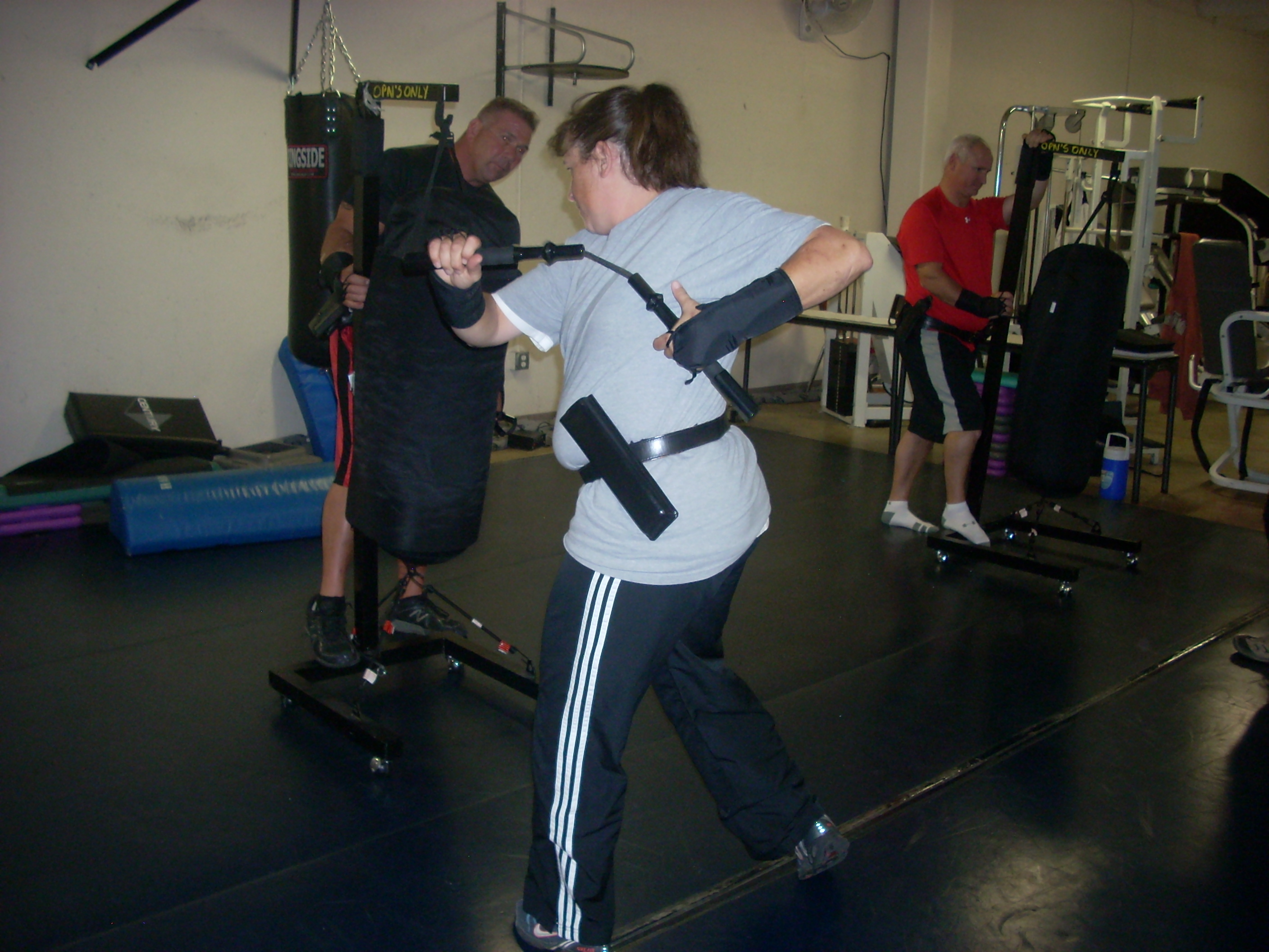 Woman practicing with the OPN device.